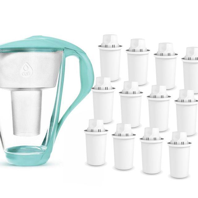 Dzbanek filtrujący szklany Dafi Crystal LED +1 filtr Classic (miętowy) +12x FilterLogic FL-601
