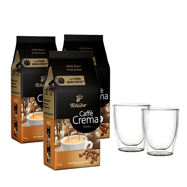 Kawa ziarnista Tchibo Caffé Crema Intense 3kg + szklanki termiczne w zestawie