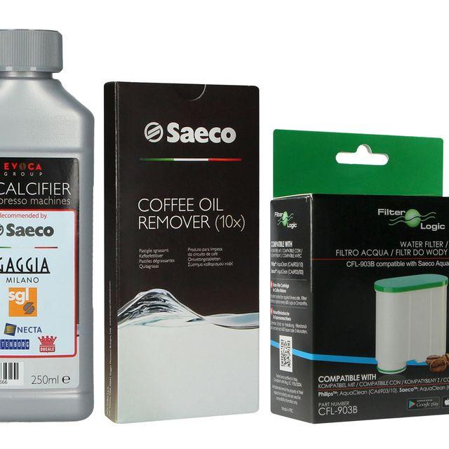 Filtr FilterLogic CFL-903B + odkamieniacz Saeco Evoca 250ml + tabletki Saeco CA6704