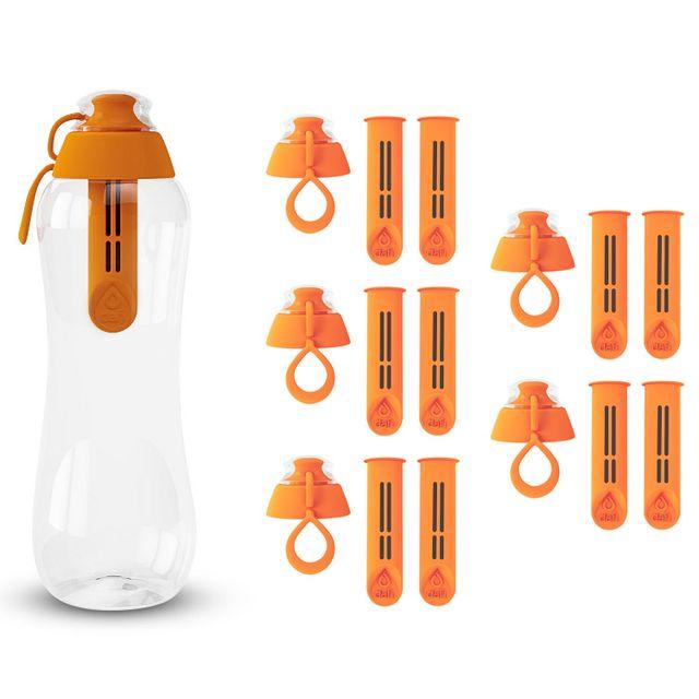 Butelka filtrująca do wody kranowej DAFI 0.5L (pomarańczowa) +11 filtrów +6 nakrętek