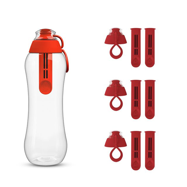 Butelka filtrująca do wody kranowej DAFI 0.5L (makowa) +7 filtrów +4 nakrętki