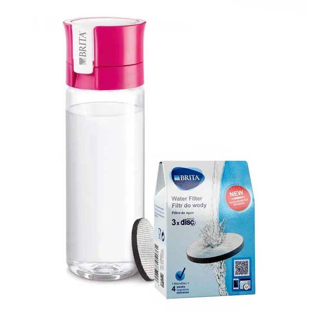 Butelka filtrująca Brita Fill&Go (różowa) + 3szt. filtrów Microdisk