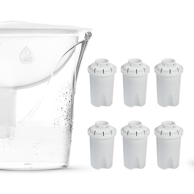 Dzbanek filtrujący Dafi START Classic 2,4L (biały) + 6 filtrów FilterLogic FL-601 + bidon na wodę