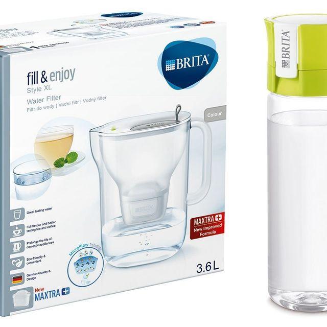 Dzbanek filtrujący Style XL (szary) +1 filtr MP +butelka Brita Vital 0,6L (limonka) - zestaw