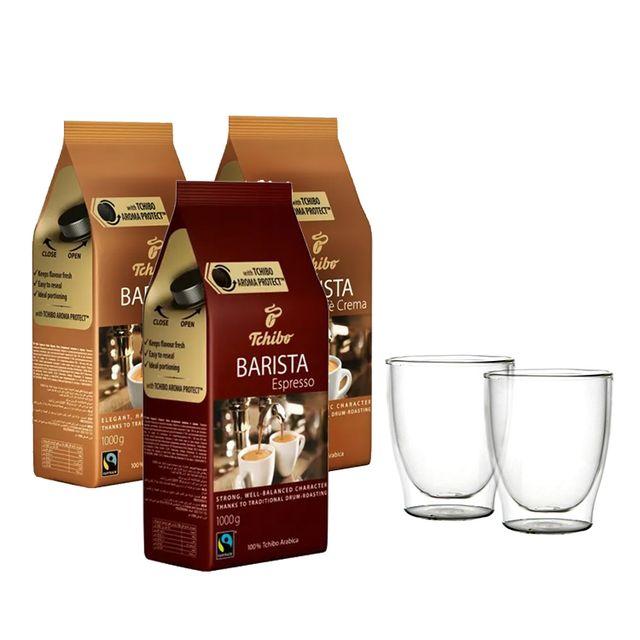 Kawa ziarnista Tchibo Barista Caffe Crema 2kg + Barista Espresso 1kg +  szklanki termiczne w zestawie