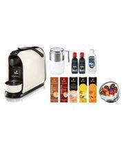 Ekspres ciśnieniowy Tchibo Cafissimo Pure (biały) + 50 kapsułek z kawą + misa na kapsułki + spieniacz do mleka + Durgol odkamieniacz i płyn do czyszczenia spieniacza