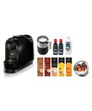 Ekspres ciśnieniowy Tchibo Cafissimo Pure (czarny) + 50 kapsułek z kawą + misa na kapsułki + spieniacz do mleka + Durgol odkamieniacz i płyn do czyszczenia spieniacza